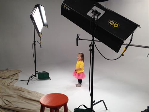 Cute child in studio