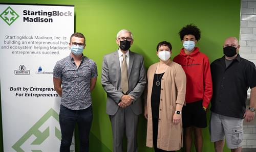 Governor Evers and the StartingBlock team. From left to right: Marc Yarmoff, Governor Tony Evers, Nora Roughen-Schmidt, Aidan Nunez-Clark, and Caleb Walters