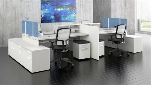 4 Person Workstation by Groupe Lacassse