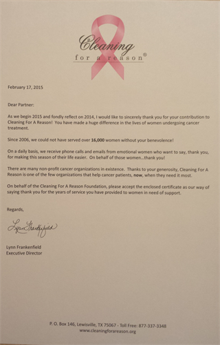 Cleaning For A Reason Thank You Letter