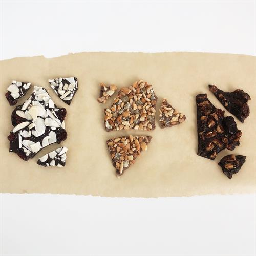 BARK BUNDLES - a favorite! Thin layer of chocolate sprinkled with fruit and nuts.