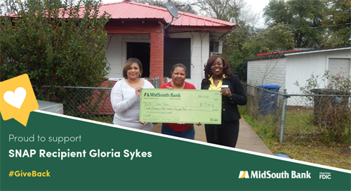 By partnering with the Federal Home Loan Bank of Dallas, we were able to offer Natchitoches homeowner Gloria Sykes a $7,350 SNAP Grant to make repairs to her home's roof. Pictured are Royal Street Assistant Banking Center Manager Sylvia Madison, Gloria Sykes, and CRA Officer LaCarsha Babers.