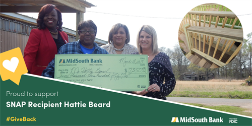 We are happy to partner with the Federal Home Loan Bank of Dallas to award a $7,350 SNAP Grant to Natchitoches homeowner, Hattie Beard. The funds were used to make repairs to the structure of the home. Pictured CRA Officer LaCarsha Babers, Hattie Beard, Royal Street Assistant Manager Sylvia Madison, and Banking Center Manager Melissa Collier.