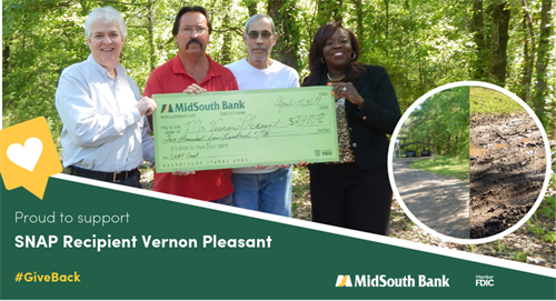 We were happy to award a $2,400 SNAP grant to Natchitoches resident Vernon Pleasant. Before receiving this grant, the homeowners had to park on the highway and walk to their home. Pictured are Sibley Lake Banking Center Manager Grady Martin, Doyle Pleasant of Specialty Contractors, Vernon, and CRA Officer LaCarsha Babers.