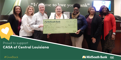 We were excited to be a sponsor and attend the 9th Annual CASA of Central Louisiana, Inc. Awareness Social. Pictured are Loan Assistant Tanikka Goston, Royal Street Manager Melissa Collier, Sibley Lake Manager Grady Martin, CASA Executive Director Jack Duty, Advocate Supervisor Iris Lilly, Royal St. Assistant Manager Sylvia Madison, and CRA Officer LaCarsha Babers.
