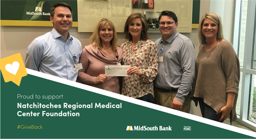 We are happy to sponsor the Natchitoches Regional Medical Center Foundation. Our donation will help provide scholarships for allied health professionals and community grants. Pictured are Tom Matuschka, Cathy Jacobs, Rhonda Jones, Sean Baylor, and Melissa Collier.