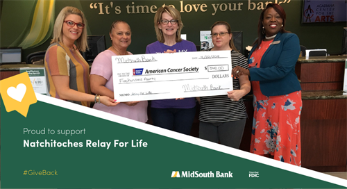 Our associates are amazing! Royal Street Banking Center employees raised $540 for the Natchitoches Relay for Life event last week. Pictured with Relay for Life representative Melissa Buford are Melissa Collier, Sherry Bradley, Jennifer Flynn and LaCarsha Babers.