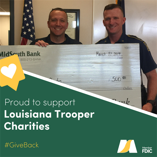 We are happy to give a $500 donation to the Louisiana Troopers Charities that will help provide all active troopers with ballistic vests as well as many other initiatives throughout the state.