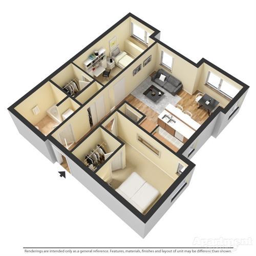 one bedroom plus den bath 3D floorplan