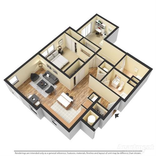 two bedroom two bath 3D floorplan
