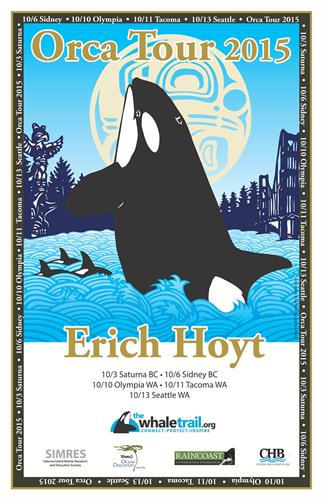 Poster for Orca Tour 2015, 5-city speaking tour featuring Erich Hoyt