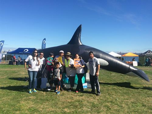 Volunteers with Mike the inflatable Orca, Orca Run 2017, Don Armeni Park