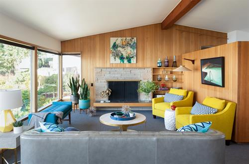 West Seattle Mid-Century Modern Living Room designed by Kirk Riley Design