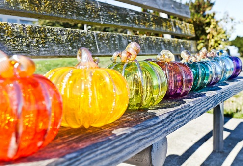 Glass pumpkins are colorful all year