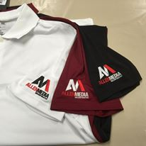 Embroidered polos for Allen Media in South Hadley