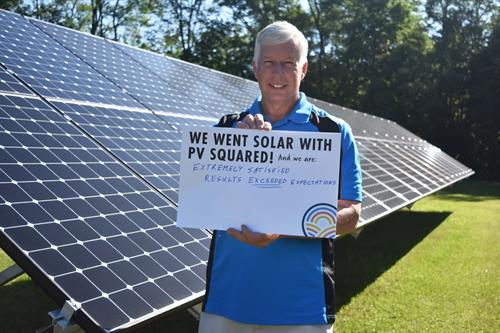 """Client Testimonial- """"We went solar with PV Squared and we are extremely satisfied- results exceeded expectations."""""""