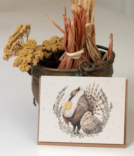 Sage Grouse and Big Sagebrush Plantable Greeting Card
