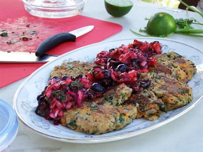 Sweet Potato Quinoa Cakes with Berry Salsa