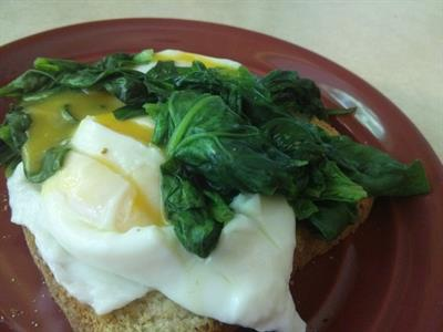 Perfect Poached Eggs with Sauteed Spinach on Toast