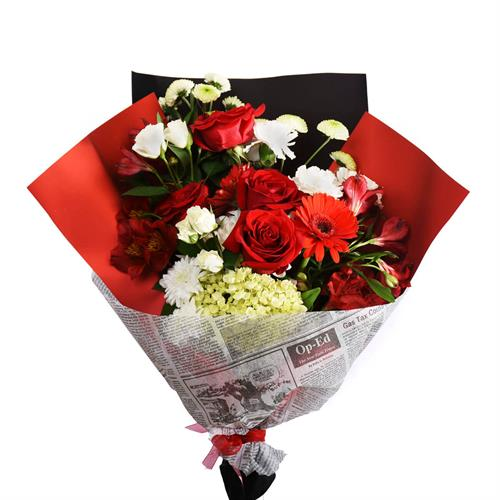 The Red Bouquet. Flower Bouquet of red & white mixed flowers