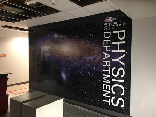 Metro State Physics Department renovation. Full color wall graphics.