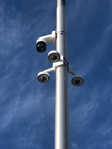 Security Cameras Mounted to a Pole