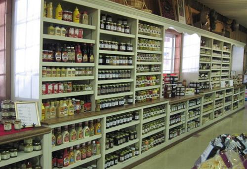 One entire wall is full of jams, jellies, sauces, marinades and more!