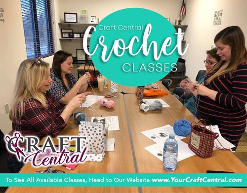 Crochet classes at our office and virtual.