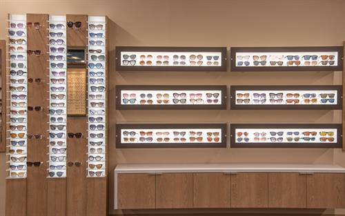 Large selection of glasses and sunglasses