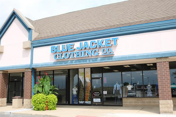A shot of the exterior of the Blue Jacket Clothing Co. North location in the Coldwater Crossing Shopping Center, which opened in June 2019.