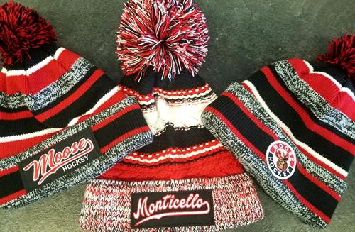 Embroidered stocking hats are available with any team or company logo.