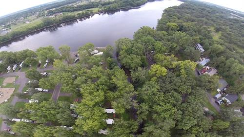 Sky view of part of campgrounds.  Mississippi River at top.  Campgrounds to left of center creek.