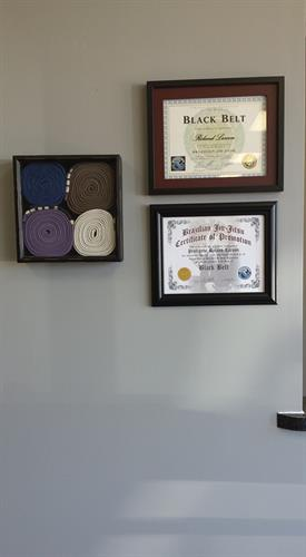Roland's belts, and his black belt certification