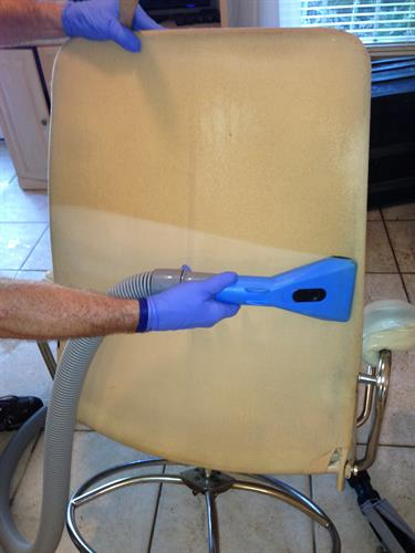 Check out what we can do with upholstery cleaning!  Before and After are amazing!
