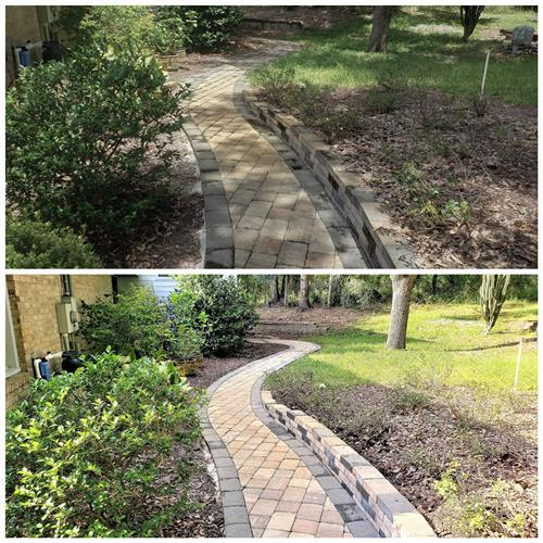 Exterior walkway . Before and after