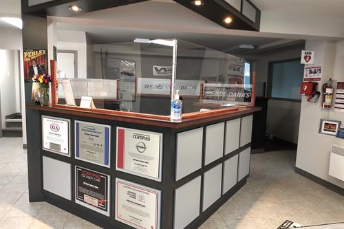 Reception area with certifications