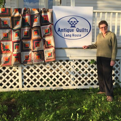 Marian and her antique quilts!
