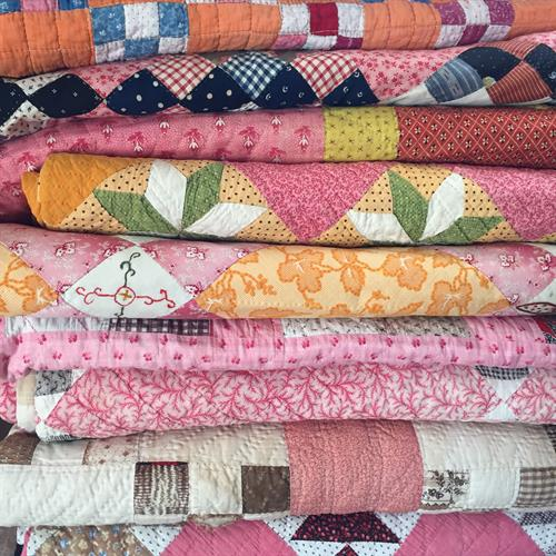 Pinkies: Hand made quilts from the late 1800s.
