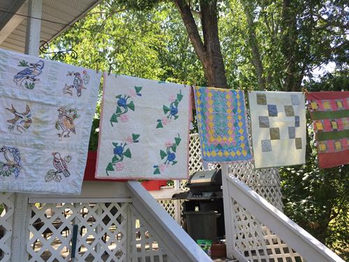 Quilts on a clothesline