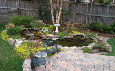 Pond, patio and plants by Terra Landscape and Design