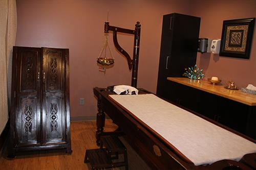 Our Ayurveda spa treatment room