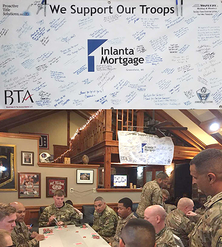 Support banner hanging at the USO Bagram Air Base in Afghanistan