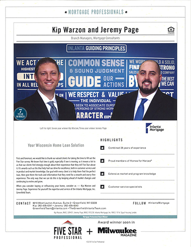 Five Star Mortgage Professional announcement from Milwaukee Magazine