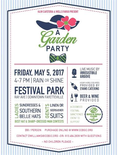 Join us at our Annual Garden Party May 5, 2017!