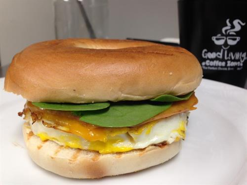GLCZ Bagel Breakfast Sandwich with Spinach