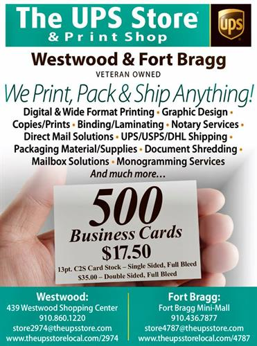 For all your printing needs...Start with 500 High Quality Business Cards for $17.50