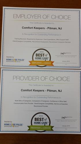 Provider of Choice and Employer of Choice 2016
