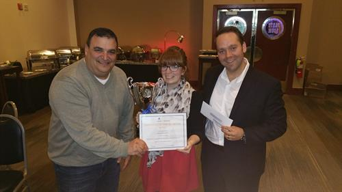 Q1 Employee of the Quarter, Amanda! (left) Howard Borochaner, Amanda DiPasquale, George Mach