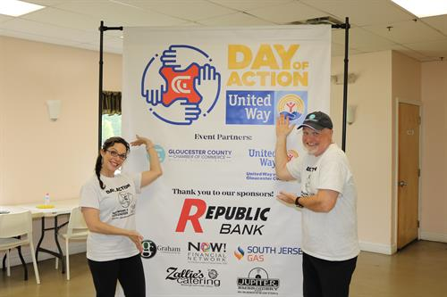Sondra Cappuccio and Les Vail at the 2019 Day of Action, a day of volunteerism in Gloucester County.