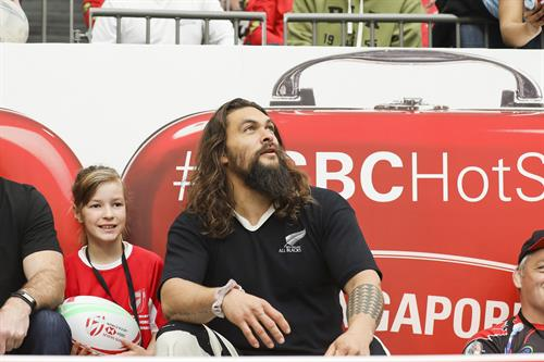 Jason Mamoa watching the Caanda Sevens Tournament in the HSBC Hot Seat
